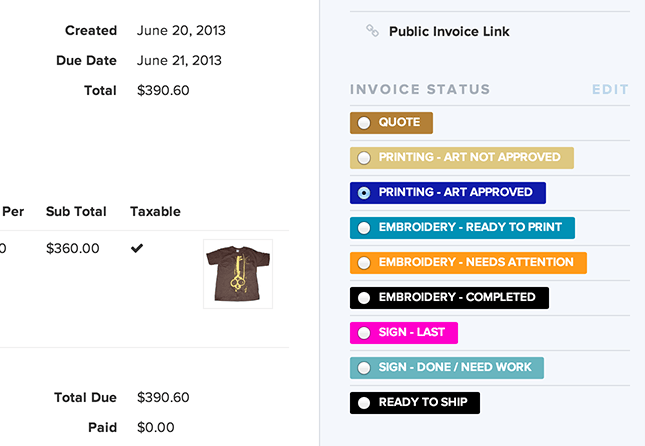 Printavo Using Printavo Simple Screen Printing Software To Help - Quickbooks invoice status
